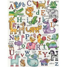 """ABC Animals Counted Cross Stitch Kit-12""""X16"""" 14 Count"""