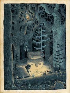 The Neverending Story, Part I - In the Howling Forest - illustration by Chuck Groenink Art And Illustration, Book Illustrations, Forest Art, Mystique, Art Graphique, Little Monsters, Concept Art, Cool Art, Art Drawings