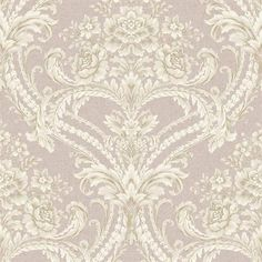 Purple and Off White Baroque Floral Damask Wallpaper