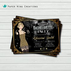 Printable Gatsby Bachelorette or Birthday Party Invitation. Bling diamond pink / gold flapper. 16th birthday, hen night party invite. BC03 on Etsy, $15.00