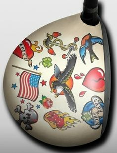 Personalized golf driver decal by Big Wigz Skins - Tattoo Love and Pride.  Buy it @ ReadyGolf.com