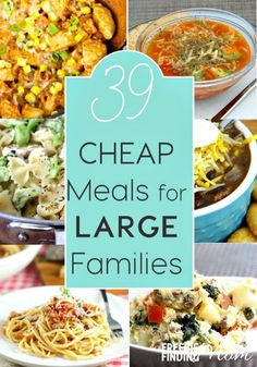 39 Cheap Meals for Large Families Have a big family but a small budget? No problem! Here are 39 cheap meals for large families that are sure to inspire you. Youll find crockpot recipes, chicken recipes, pasta recipes, and more! Cooking For A Crowd, Cooking On A Budget, Easy Cooking, Crowd Food, Meals For A Crowd, Healthy Cooking, Cooking Pork, Vegetarian Cooking, Healthy Food