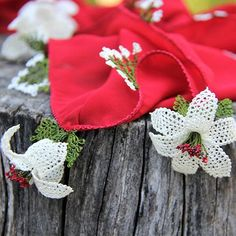 """Introducing """"Ece"""" or """"Queen"""" red silk scarf with white #needlelace flowers #fairtrade #handcrafted #sentoverfromturkey #madeinamasya #benimki.com.au"""