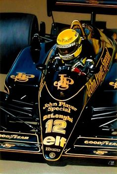 Ayrton Senna, 1986, Lotus Renault 98T Turbo JPS, Trabajo terminado. Óleo sobre tela 100x60