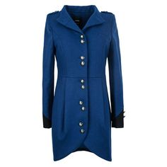 Blue Asymmetric Coat With Cuffs Detail ($305) ❤ liked on Polyvore