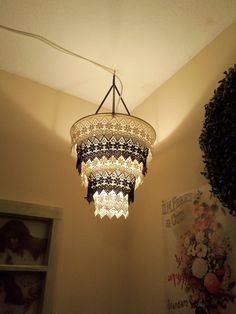 Venise Lace Faux Chandelier Pendant Lamp Shade.. Could recreate using strips of lace edging, would prob do single colour