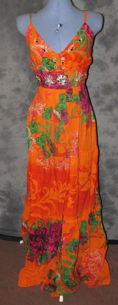 Ladies,size14-16,orange,full length,floral,strappy,casual,holiday,summer,dress.