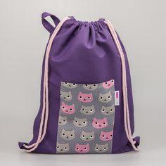 Worek NOŚ MNIE XL (fioletowy w kolorowe koty) - nosmnie - Worki szkolne i przedszkolne