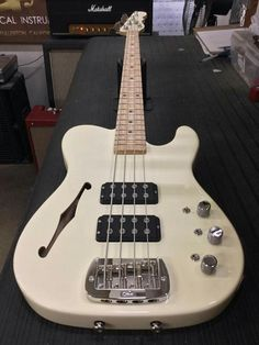 Here's an ASAT Bass Semi-Hollow in Vintage White over swamp ash, quartersawn maple neck with Birdseye maple fingerboard, matching headstock. CLF080008 is headed to Roxy Guitars in Philadelphia, Pennsylvania. G&L Musical Instruments.