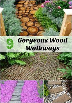 Looking to spruce up your walkway? Using wood is a great way to go and can be less expensive especially when you use materials you already have on hand. Check out these 7 different wood walkways to find one that suits you! Outdoor, Backyard Projects, Diy Garden Decor, Outdoor Decor, Landscape Design, Diy Garden, Wood Walkway, Garden Planters, Diy Landscaping