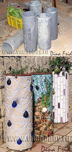 Кашпо из труб с мозаикой   СВОИМИ РУКАМИ   Дизайн и интерьер   Постила