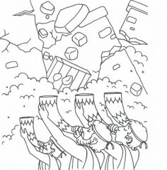 frolic first preschool bible coloring pages jericho Preschool Bible, Bible Activities, Bible Story Crafts, Bible Stories, Sunday School Lessons, Sunday School Crafts, Joshua Bible, Battle Of Jericho, Sunday School Coloring Pages