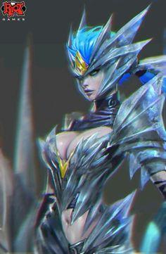 Concept Art by Paul Hyun Woo Kwon (Shyvana of League of Legends, Riot Games) Shyvana League Of Legends, Hyun Woo, Fan Art, Fantasy Girl, Female Characters, Anastasia, Concept Art, Character Design, Character Ideas