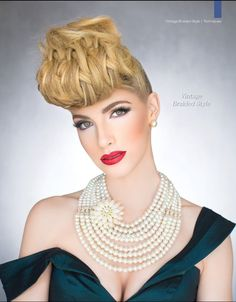Learn how to craft this braided look, in the most decadent vintage style, with this step by step tutorial. Hair And Makeup Artist, Hair Makeup, Braids Step By Step, Crimped Hair, Beauty Magazine, Vintage Hairstyles, Beauty Queens, Hair Inspiration, Stylists