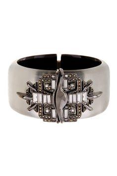 Marcasite & Crystal Hinged Bracelet by Alexis Bittar