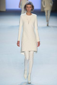 Akris - Fall 2015 Ready-to-Wear - Head to toe in winter white. Slight A-line dress with bubbling border over leather leggings.