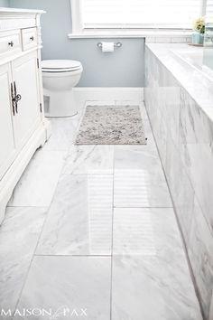 Small carrera marble bathroom marble bathroom floor tiles inspirational tips for designing a small bathroom decor . Marble Tile Bathroom, Bathroom Floor Tiles, Bathroom Colors, Small Bathroom, Bathroom Ideas, Bathroom Mirrors, White Bathroom, Bath Ideas, Bathroom Designs