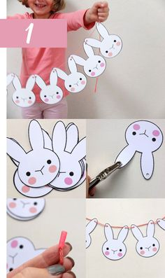 Make a cute Easter Bunny Bunting to decorate your home. A simple Easter Craft. Print, cut out and string together to make an Easter Garland. Easter Projects, Easter Crafts For Kids, Art Projects, Spring Crafts, Holiday Crafts, Ostern Party, Easter Garland, Bunny Party, Bunny Birthday