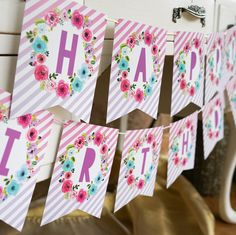 Printable Unicorn Happy Birthday Banner