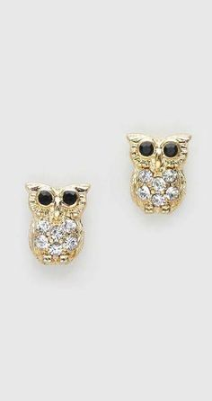 Tiny Crystal Owl Earrings in Gold