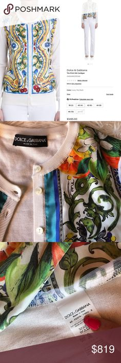✨SALE! NEW Dolce & Gabbana 100% Silk Cardigan Just bought last month but it's too small on me NWOT guaranteed authentic Dolce & Gabbana silk knit cardigan sweater. Silk scarf fabric on front with print depicting tiles, oranges and blossoms. Spectacular for dressing up or with jeans.  D&G logo buttons 100% silk  Very, very soft Retail $1,495 Dry clean only  Size:  38 (the website says size 38 is the equivalent of a US 2). First picture is the same cardigan but in a different color selling for…