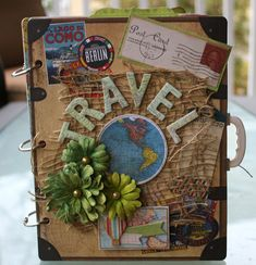 Travel albumn by Gabrielle Pollacco using Bo Bunny chipboard album papers chipboard accents stickers and Noteworthy die cuts from the Souvenir collection as well as Bo Bunny Blooms and Glimmer Mist Scrapbook Cover, Travel Scrapbook, Scrapbook Albums, Scrapbook Journal, Mini Albums, Diy Mini Album, Travel Album, Journal Covers, Smash Book