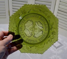 Vintage Green Glass Plate The Wedding Day and Three Weeks After Collectible Glass Plate PanchosPorch