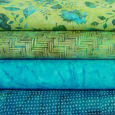 Chartreuse, Lime, and Turquoise Batiks - Quilters Quartet