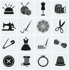 Illustration about Set of sewing and needlework icons. Collection of design elements. Illustration of button, embroidery, handmade - 41138357 Sewing Machine Drawing, Sewing Tattoos, Sewing Room Decor, Silhouette Portrait, Sewing Art, Hand Embroidery Designs, Clipart, Stencil, Design Elements