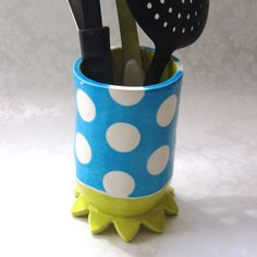 ceramic potter utensil holder bright blue & chartreuse by maryjudy -- whimsical big white polka dots for flowers cooking utensils