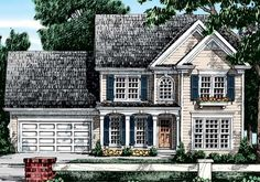 Eplans Colonial House Plan - Savvy and Stylish - 1675 Square Feet and 3 Bedrooms from Eplans - House Plan Code Colonial House Exteriors, Colonial House Plans, Colonial Style Homes, House Floor Plans, Narrow Lot House Plans, Two Story House Plans, Affordable House Plans, Sims House, Cottage Living