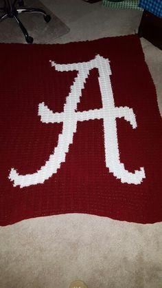 Crimson Tide afghan I crocheted for a friend. #alabama #alabamafootball…