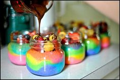 Rainbow Cake in a jar #dessert