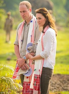 The Duke and Duchess of Cambridge before leaving for a jeep safari...
