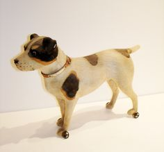 German Paper Mache Pull Toy 1900s Jack Russel Terrier-