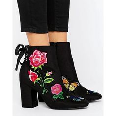 ASOS ETERNAL LOVE Patchwork Ankle Boots ($83) ❤ liked on Polyvore featuring shoes, boots, ankle booties, black, black lace up boots, black boots, black high heel boots, lace up boots and black lace up booties