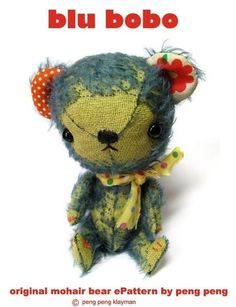 .BLU BOBO, Sweet Small Mohair artist teddy bear, Peng Peng Bears Original ePattern 12.00