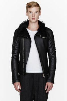 RICK OWENS Black leather and shearling jacket