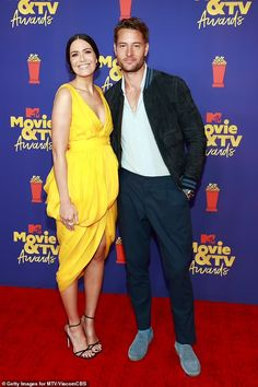 Mandy Moore dons yellow dress at MTV Movie & TV Awards, three months after giving birth | Daily Mail Online Rachel Lindsay, Justin Hartley, Jenny Han, Tv Awards, Mandy Moore, Elizabeth Olsen, Riley Keough, Dandelion Yellow, Red Carpet Dresses
