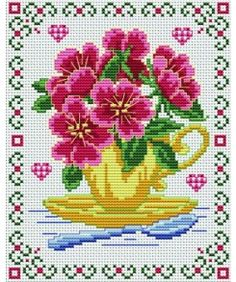 Love bouquet. Tons of FREE CROSS-SITCH PATTERNS at this site: just found a site that has really easy to download embroidery patterns for free. It's http://club-point-de-croix.com/?code_avantage=CWcplRsmji  Plus, if you click on this link, http://club-point-de-croix.com/?code_avantage=CWcplRsmji  , you'll automatically receive a gift when you subscribe. I use this site all the time; there are hundreds of all different types of patterns, and there are new patterns added everyday.