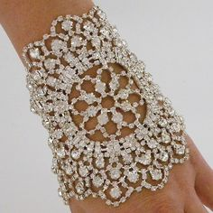Jeweled Nouveau Bouquet Cuff, Crystal