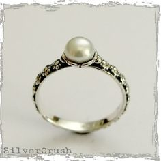 Thin floral silver engagement ring with pearl  by silvercrush, $44.00