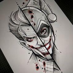 Joker and Harley Quinn Joker And Harley Tattoo, Harley Tattoos, Joker Y Harley Quinn, Harley Quinn Drawing, Batman Tattoo, Joker Tattoos, Game Tattoos, Joker Drawings, Batman Drawing