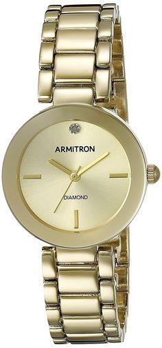 Armitron Women's 75/5374CHGP Diamond-Accented Gold-Tone Bracelet Watch >>> Click image to review more details.