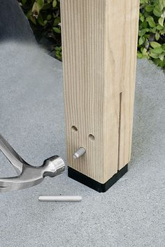 CPTZ Concealed Post tie, by Simpson Strong-TieWhat a slick way to anchor a post in concrete and protect it from rot: Slip the kerfed end of a post over the bolted-down base, then tap three pins in place, just like a timber framer. Veranda Pergola, Wood Joints, Post And Beam, Building A Shed, Home Repairs, Shed Plans, Old Houses, Home Projects, Woodworking Projects