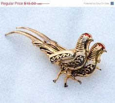 Damascene Brooch Pheasant Game Bird Winter Fashion by OurBoudoir