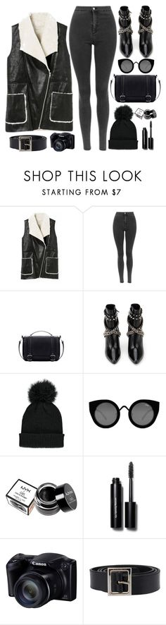 """Blacks"" by genuine-people ❤ liked on Polyvore featuring Yves Saint Laurent, Forever 21, Quay, NYX, Bobbi Brown Cosmetics, Dolce&Gabbana, black, jeans, vest and allblackeverything"
