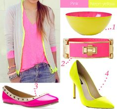 Pink & neon yellow...LOVE these colors together...love the outfit too!!!! <3