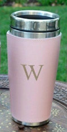 Monogram pink coffee mug