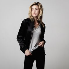 A softly structured silk bomber jacket is the must-have piece of the season. Crafted from 100% silk, it has a luxuriously soft, lightweight hand and graceful drape that's structured by a ribbed elastic waistband and cuffs. We've stripped down the design to have a minimalist feel that can be worn with anything, anywhere, and will always exude street cred. You'll never want to take this jacket off.